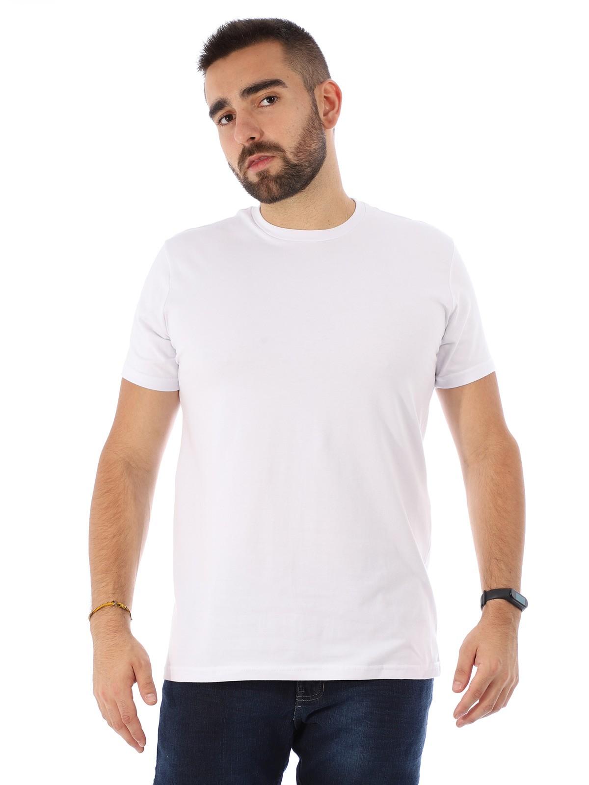 Camiseta Masculina Lisa Algodão Com Elastano Fit Branca