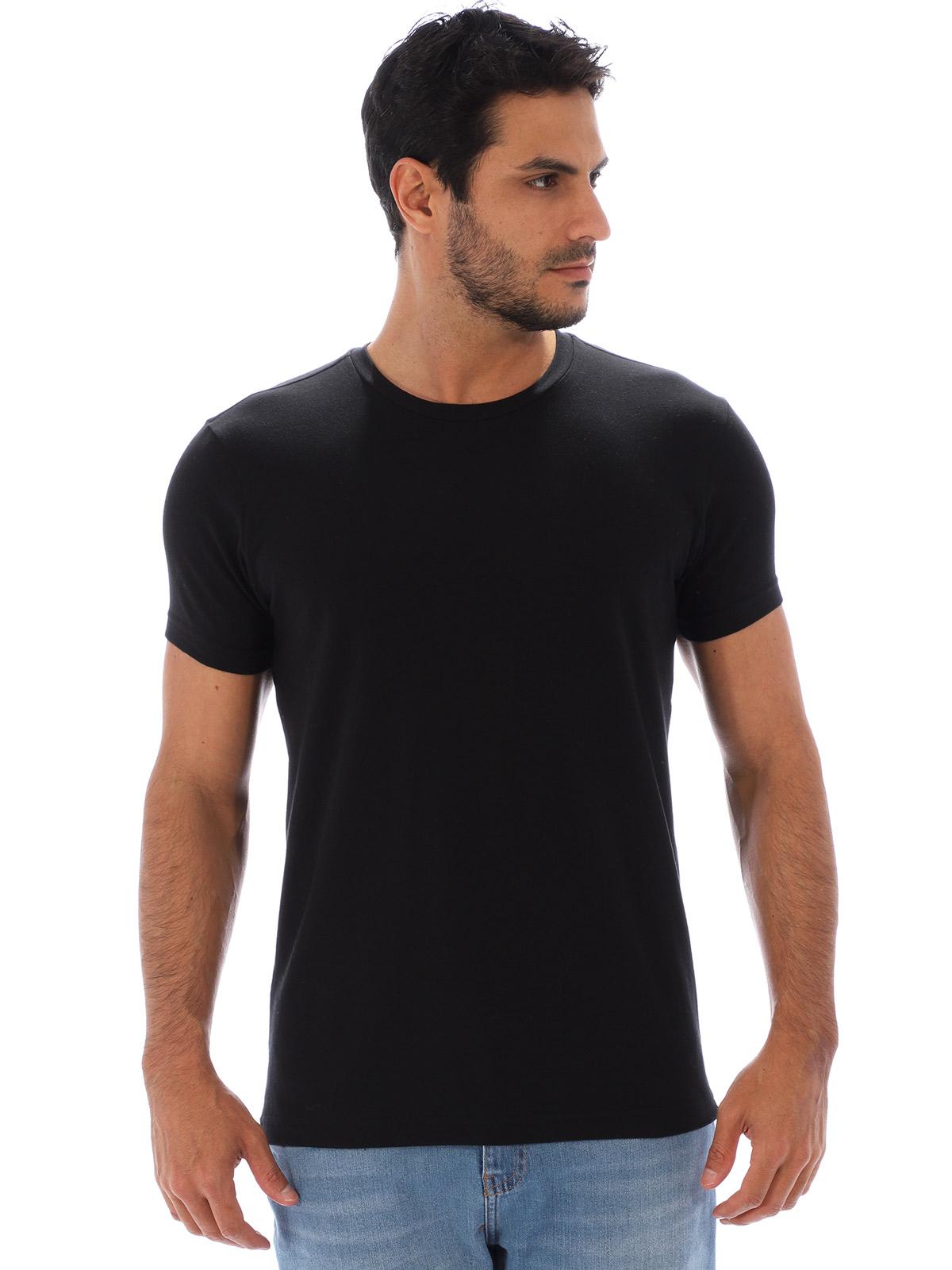Camiseta Masculina Lisa Algodão Com Elastano Fit Preta