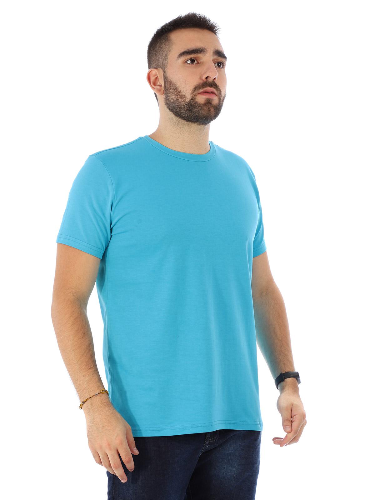 Camiseta Masculina Lisa Algodão Com Elastano Fit Turquesa