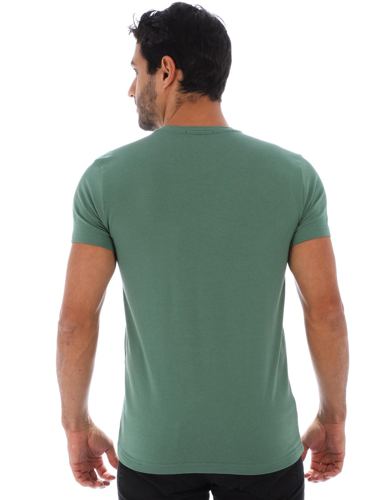 Camiseta Masculina Lisa Algodão Com Elastano Fit Verde Musgo