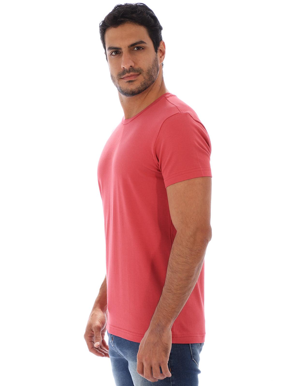 Camiseta Masculina Lisa Algodão Com Elastano Fit Vermelha
