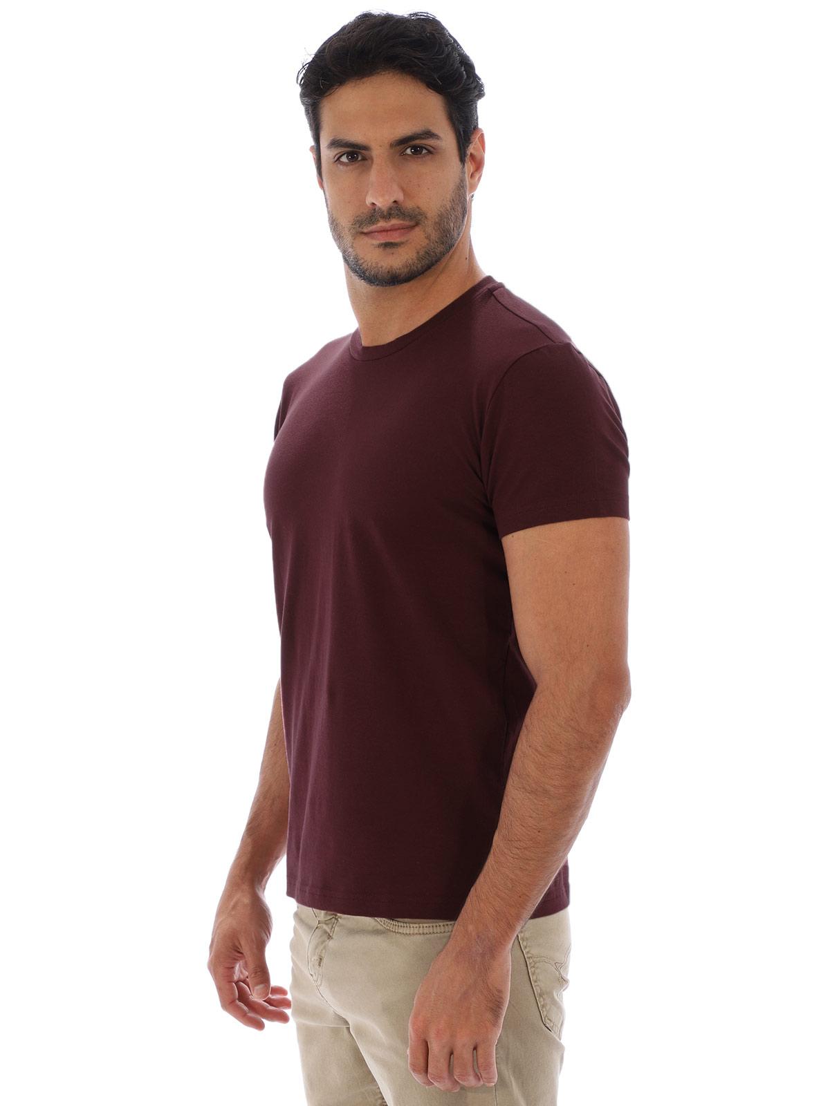 Camiseta Masculina Lisa Algodão Com Elastano Fit Vinho