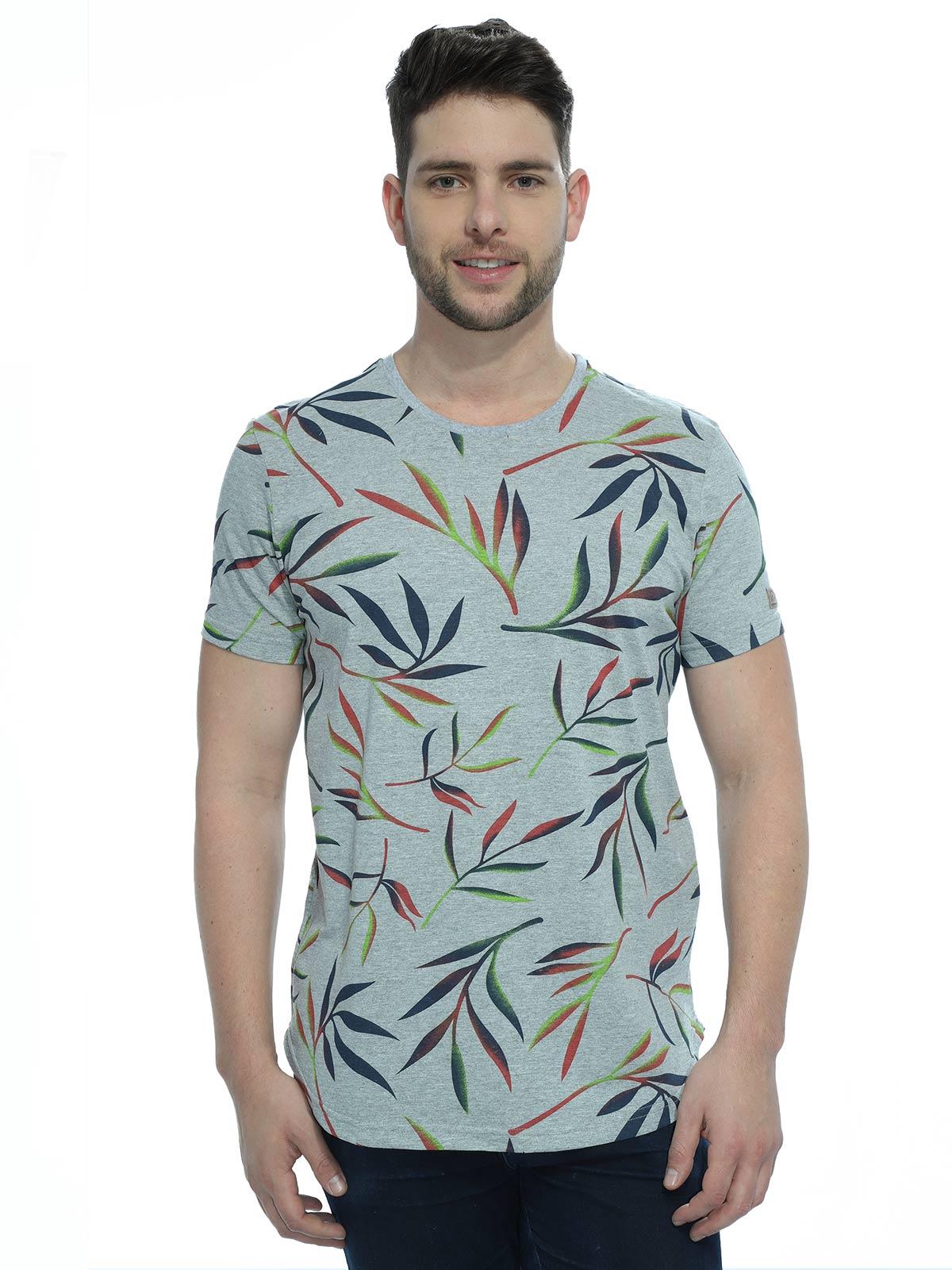 Camiseta Masculina Longline Floral Mescla
