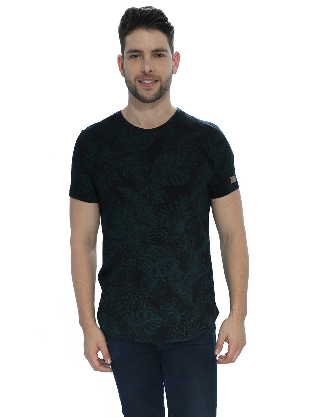 Camiseta Masculina Longline Floral Nature Preta