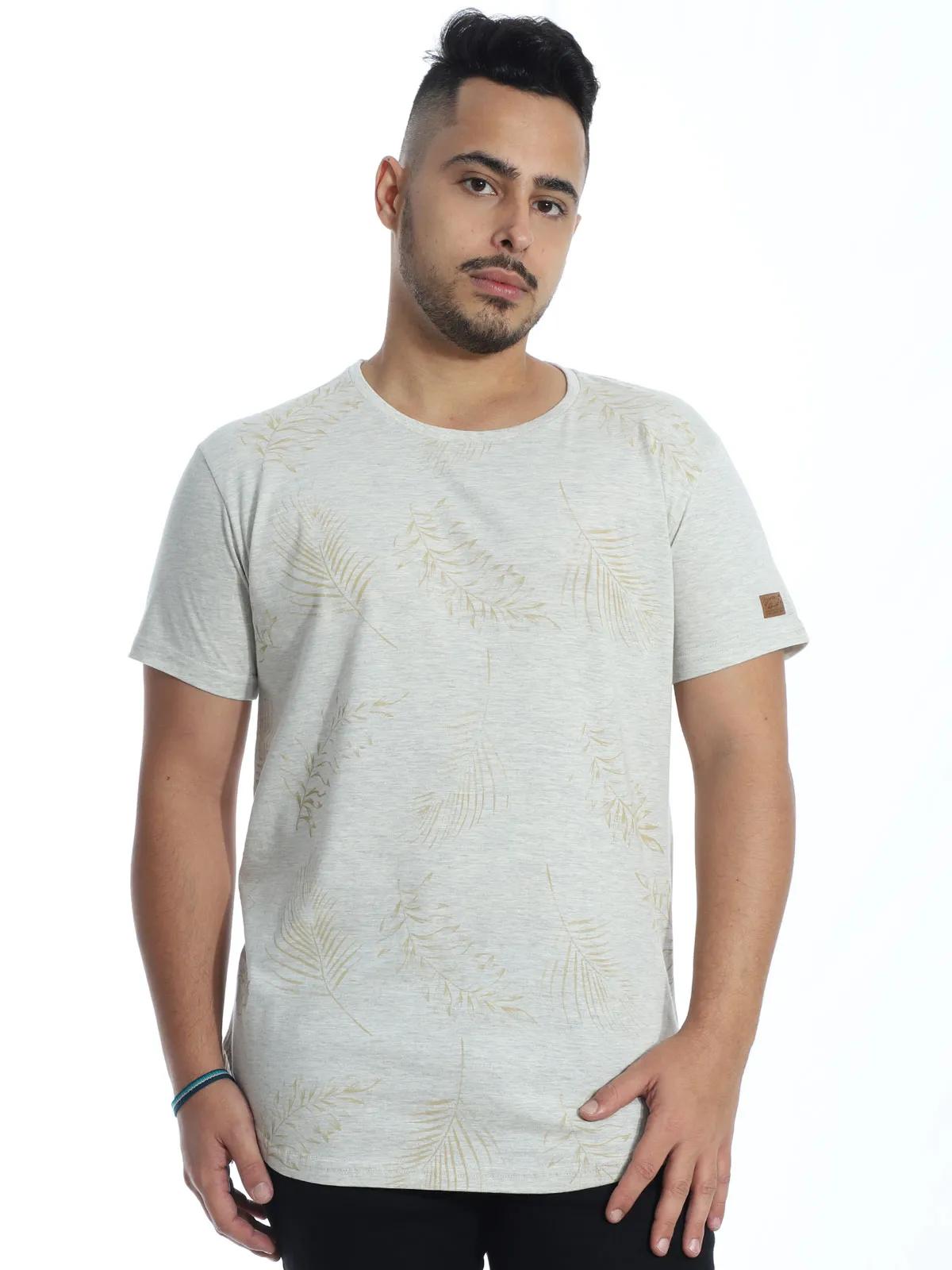 Camiseta Masculina Longline Swag Algodão Estampada Mescla Cru