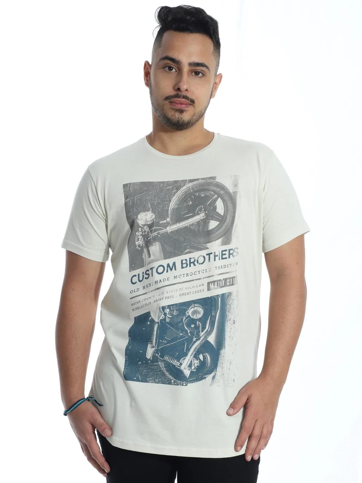Camiseta Masculina Longline Swag Algodão Gola Careca Areia