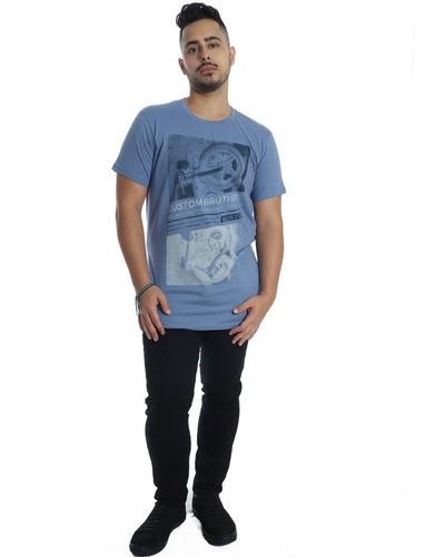 Camiseta Masculina Longline Swag Algodão Gola Careca Indigo