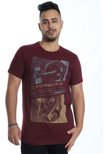 Camiseta Masculina Longline Swag Algodão Gola Careca Vinho
