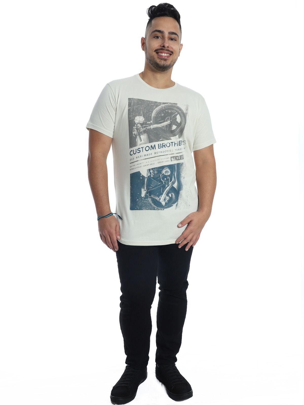 Camiseta Masculina Longline Swag Anistia Custon Areia