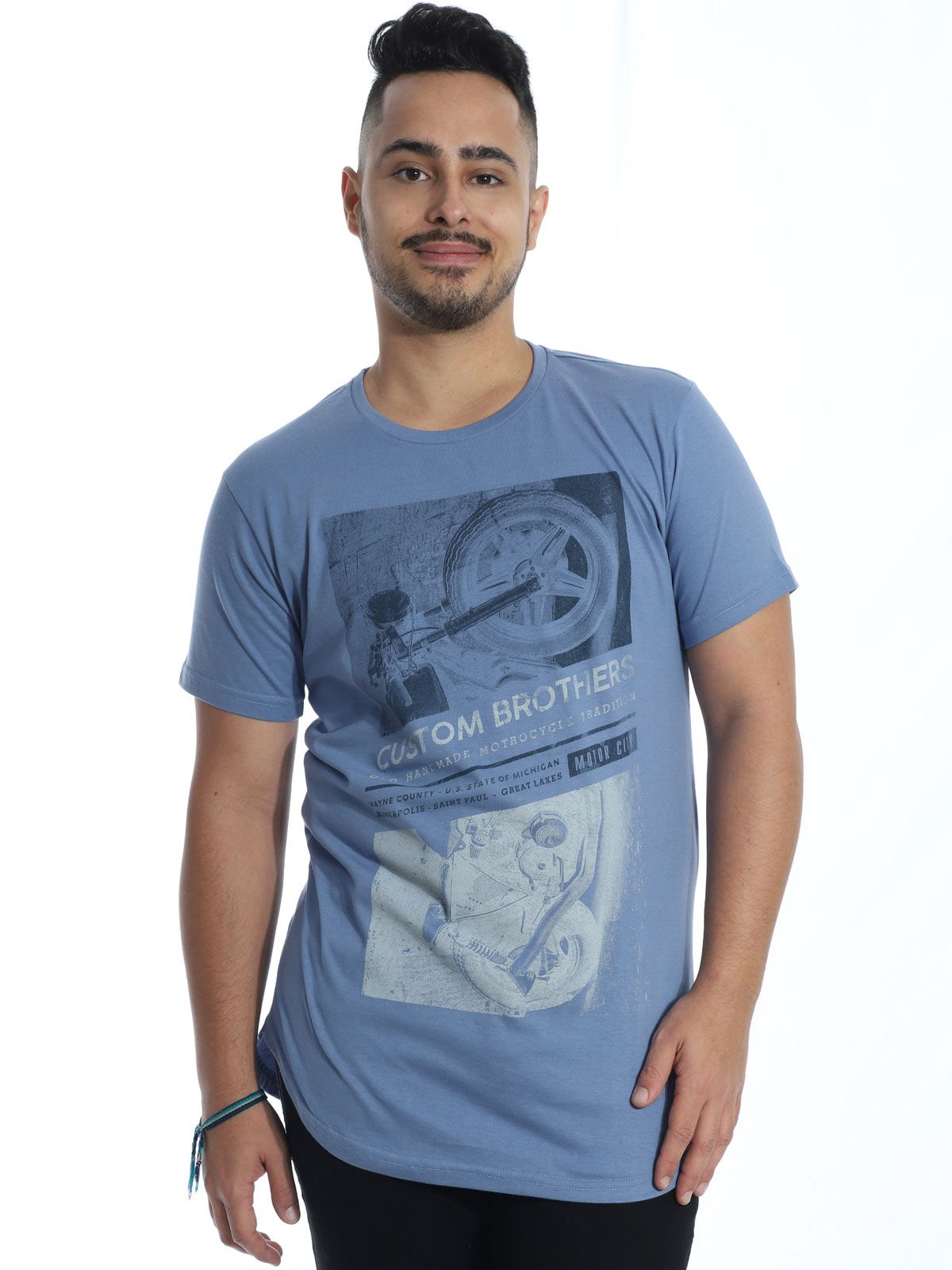 Camiseta Masculina Longline Swag Anistia Custon Indigo