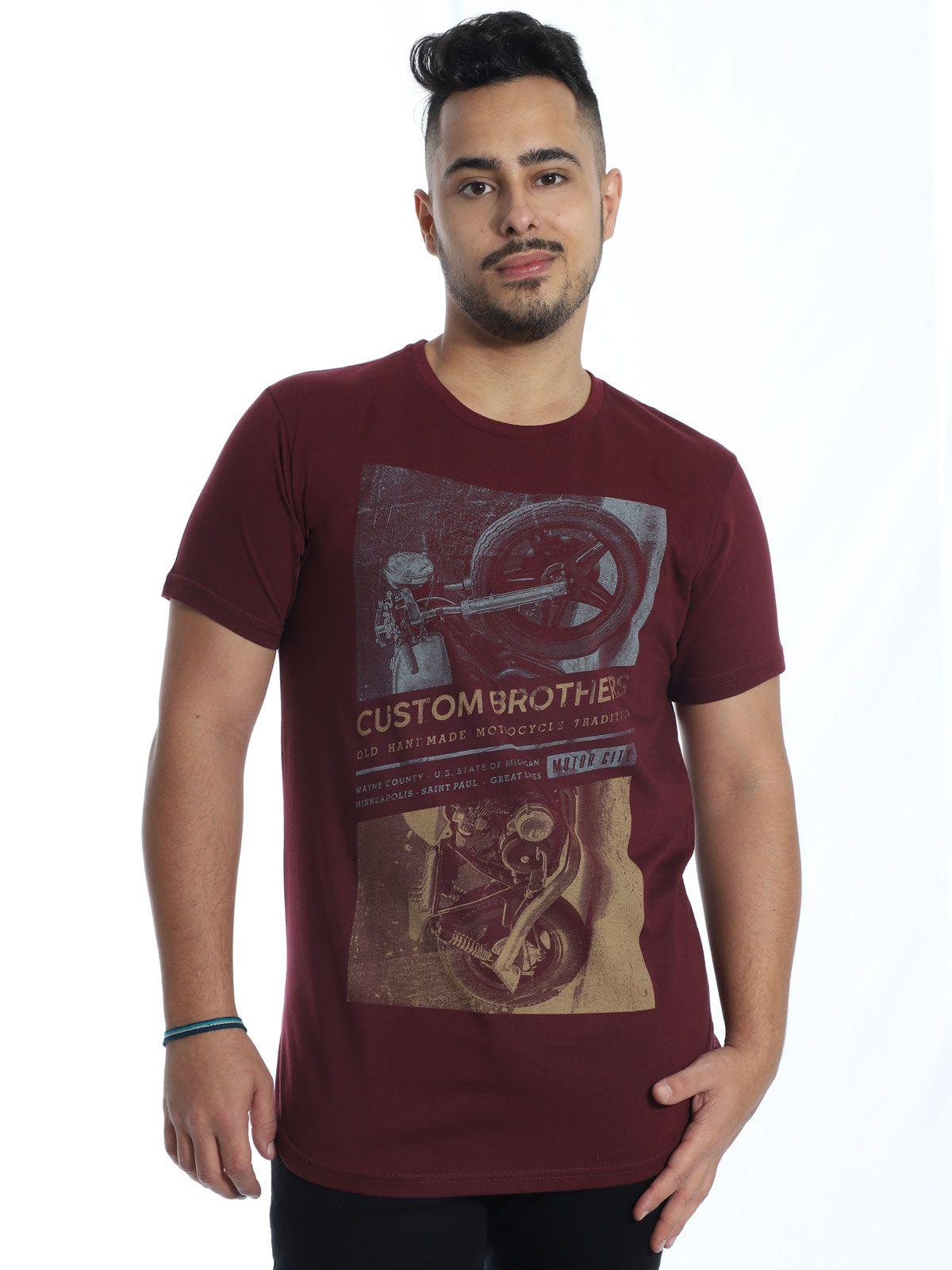 Camiseta Masculina Longline Swag Anistia Custon Vinho