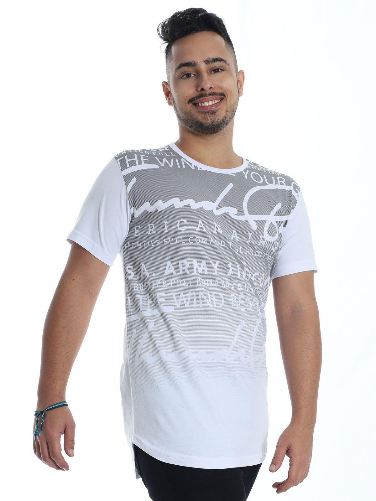 Camiseta Masculina Longline Swag Anistia Frontier Branco
