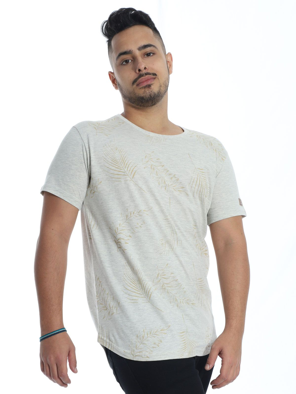 Camiseta Masculina Longline Swag Anistia Leafs Mescla Cru