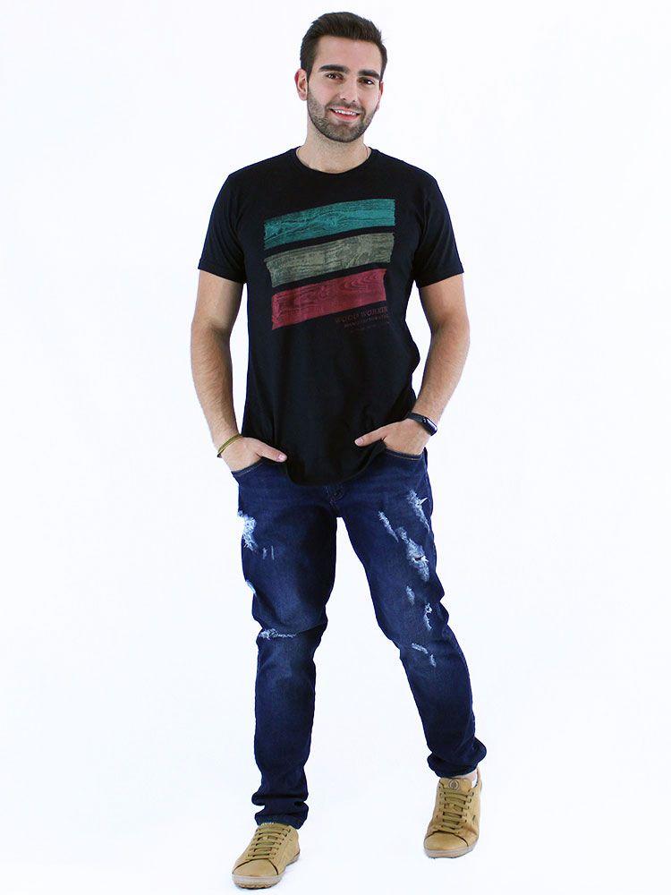 Camiseta Masculina Longline Swag Anistia Wood Preto