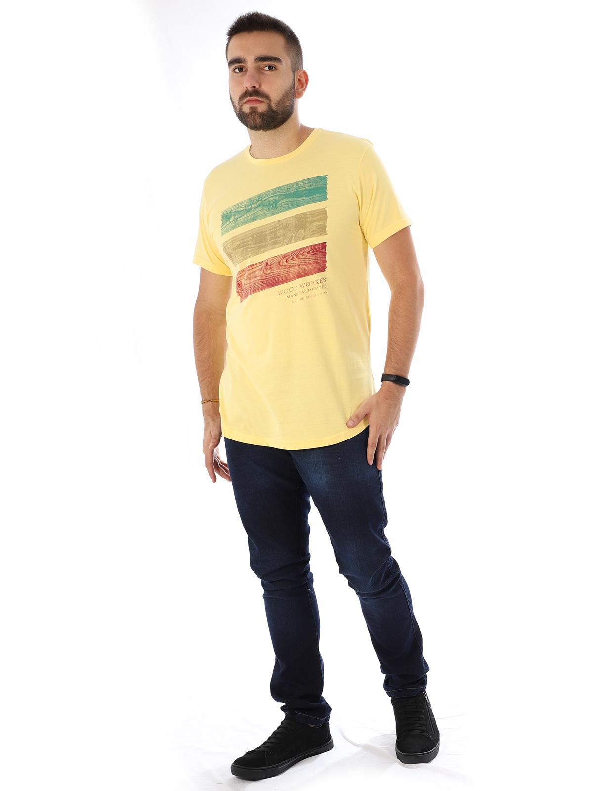 Camiseta Masculina Longline Swag Manga Curta Estampada Wood Amarelo