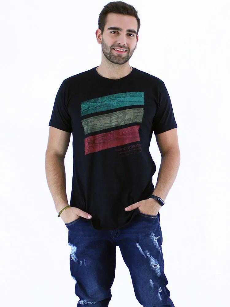 Camiseta Masculina Longline Swag Manga Curta Estampada Wood Preto