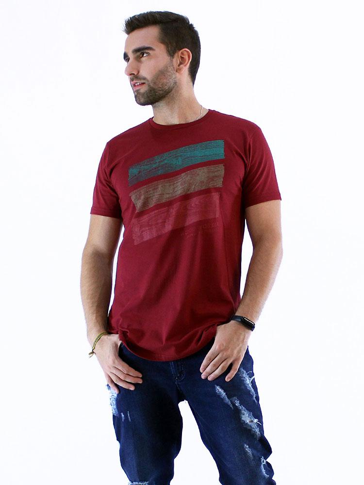 Camiseta Masculina Longline Swag Manga Curta Estampada Wood Vermelho