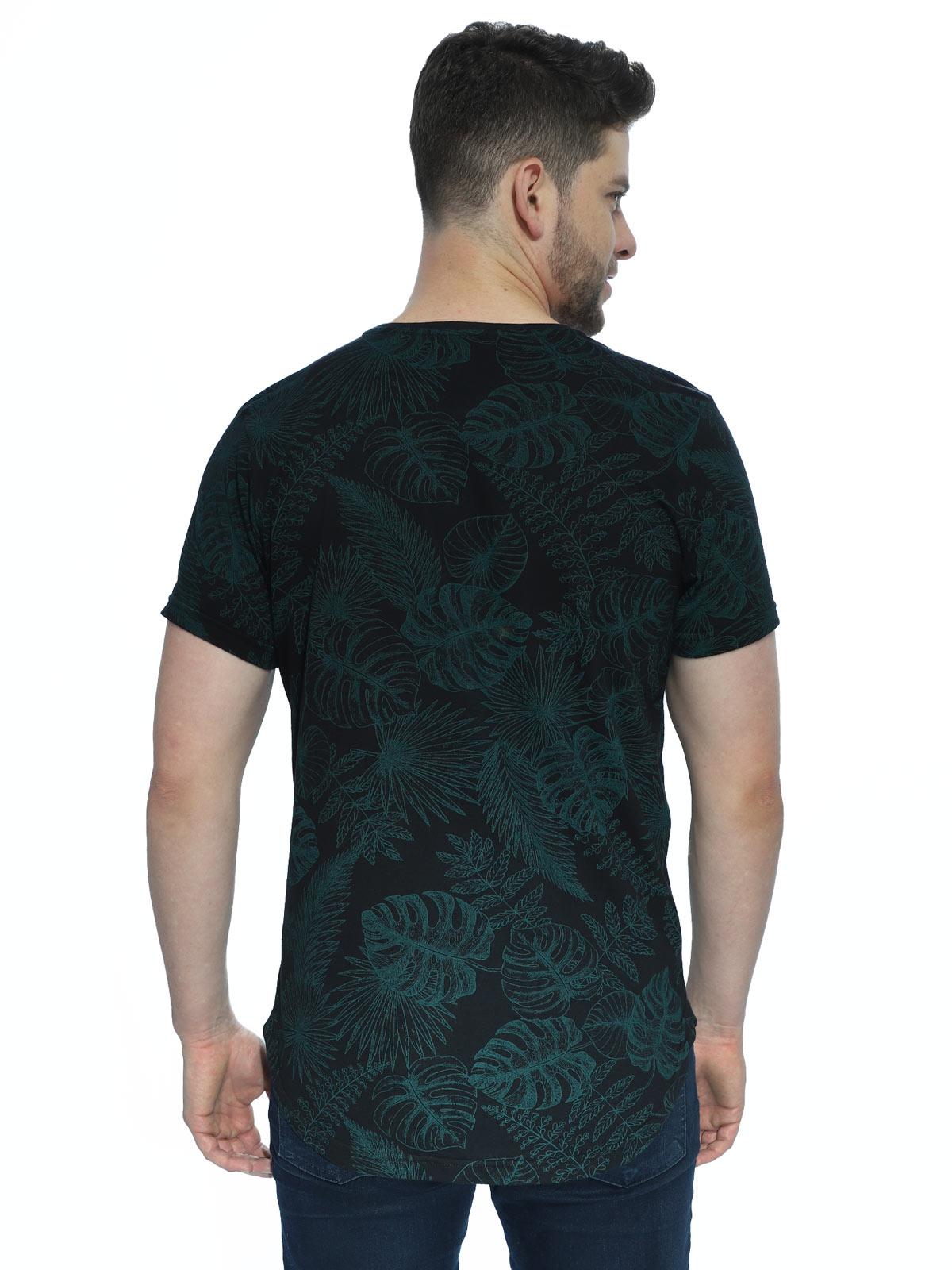 Camiseta Masculina Longline Swag Manga Curta Floral Preta