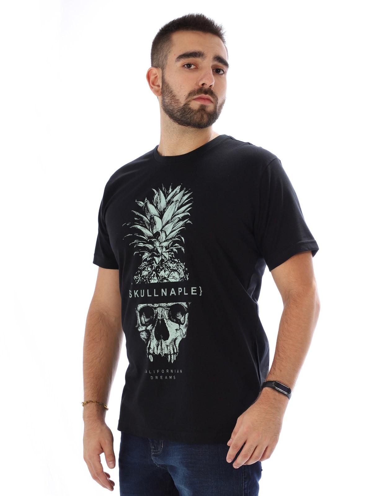 Camiseta Masculina Manga Curta Básica Abacaxi Preto