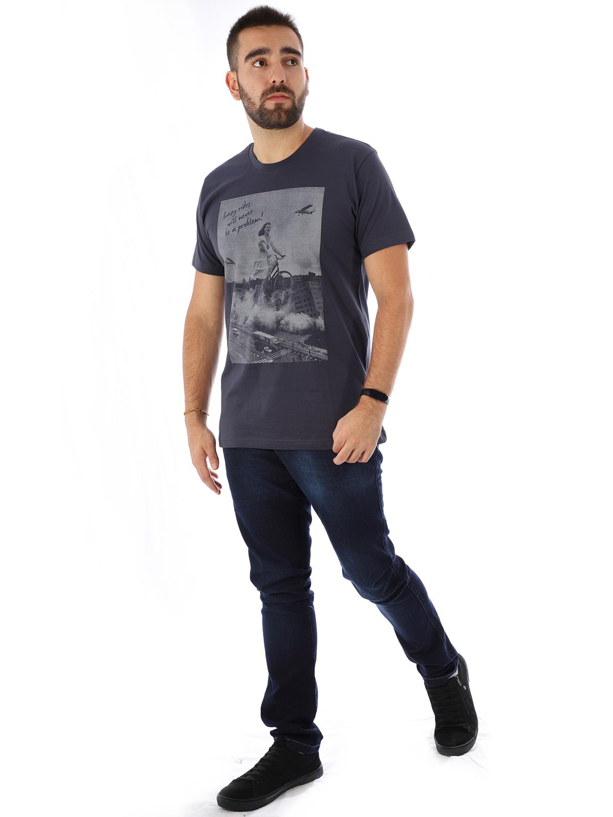 Camiseta Masculina Manga Curta Básica Algodão Lazy Grafite