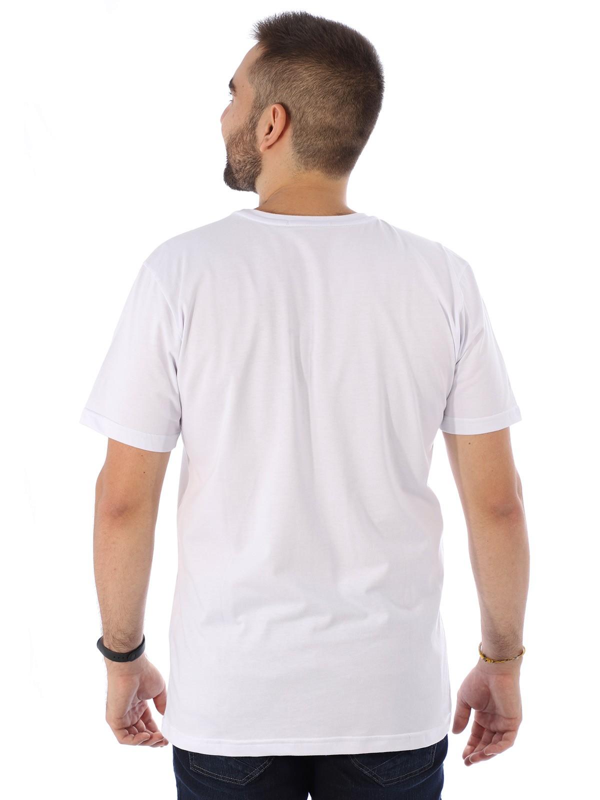 Camiseta Masculina Manga Curta Básica Floral Branco