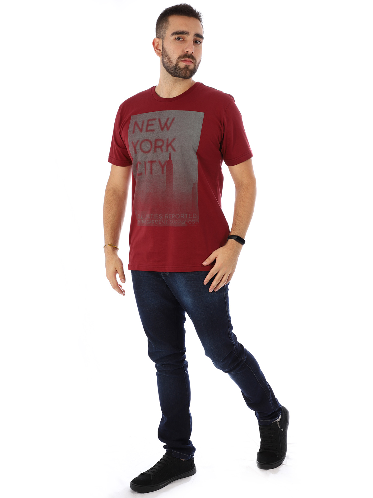 Camiseta Masculina Manga Curta Básica New York Bordo