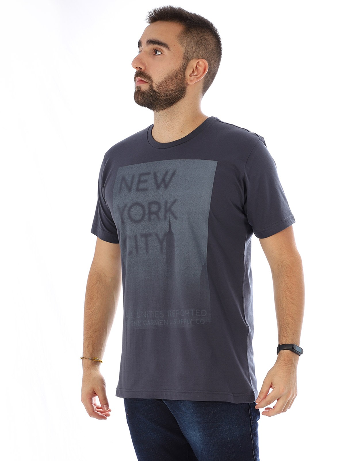 Camiseta Masculina Manga Curta Básica New York Grafite