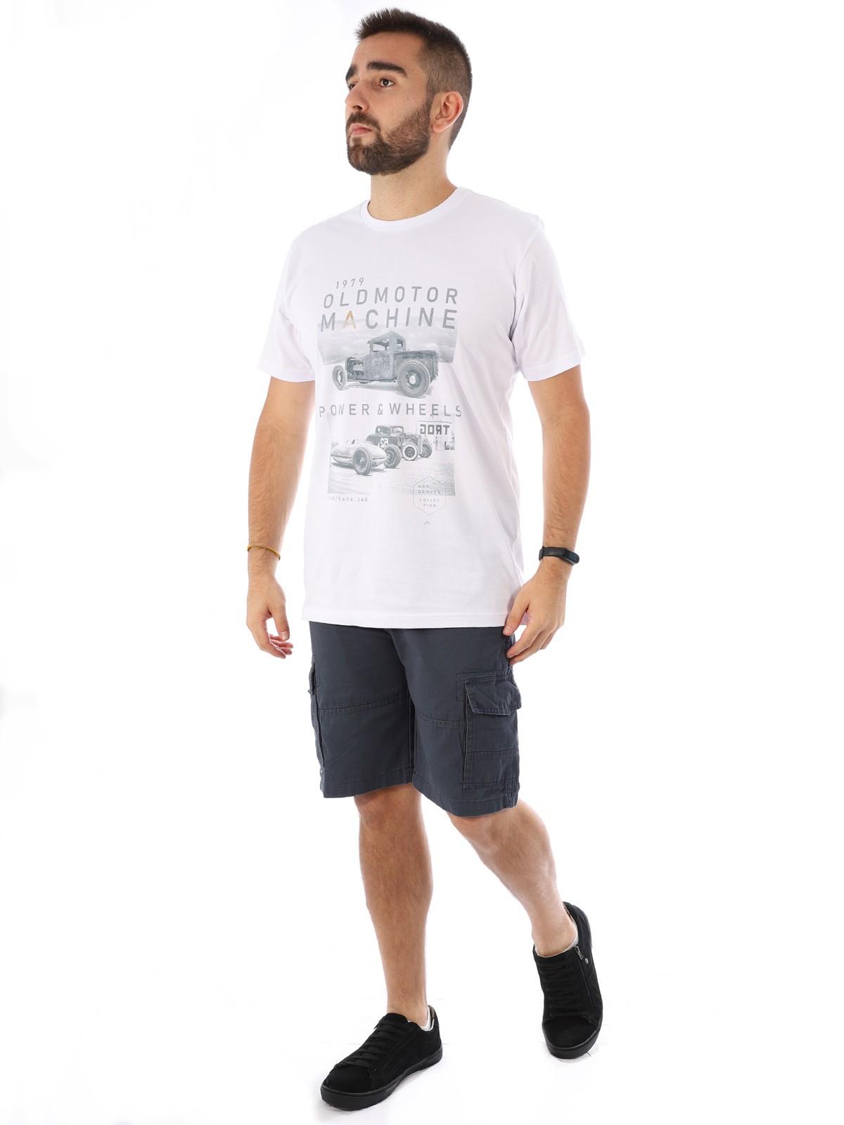 Camiseta Masculina Manga Curta Básica Old Motor Branco