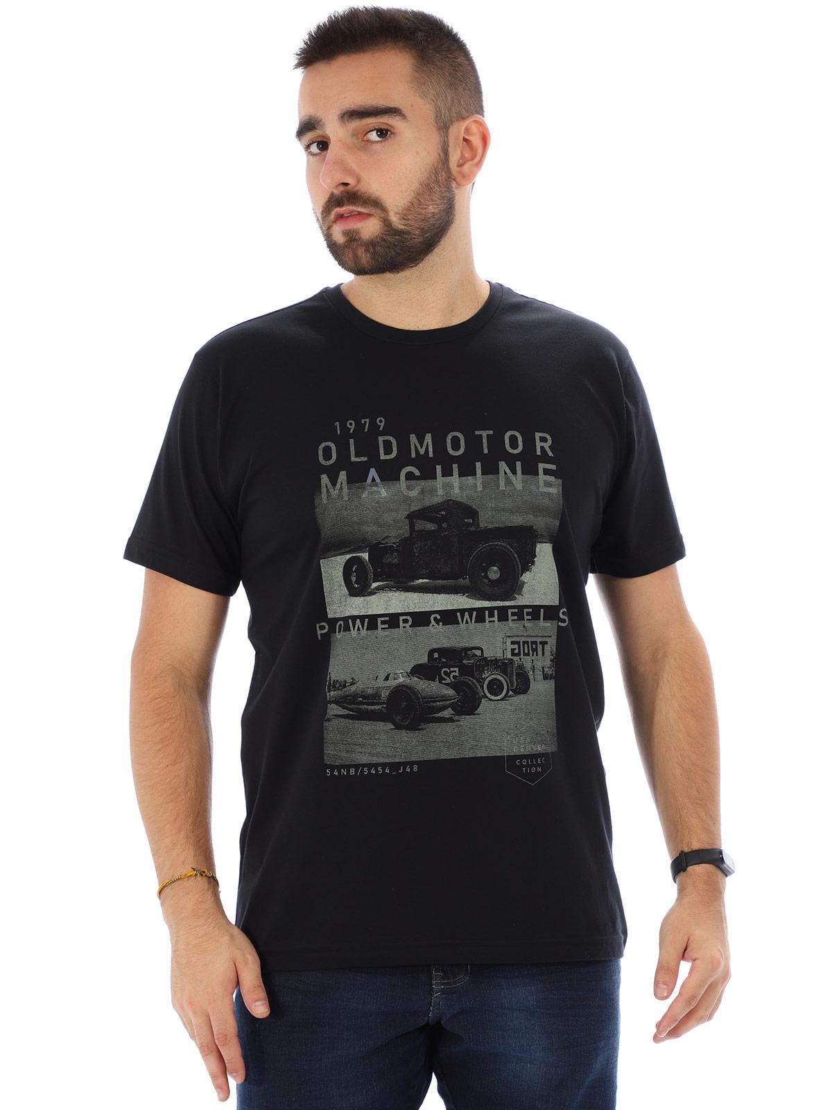 Camiseta Masculina Manga Curta Básica Old Motor Preto