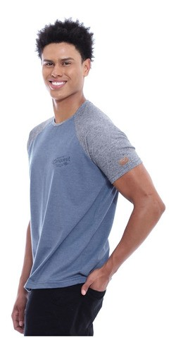 Camiseta Masculina Manga Ragla Gola Careca Botone Jeans