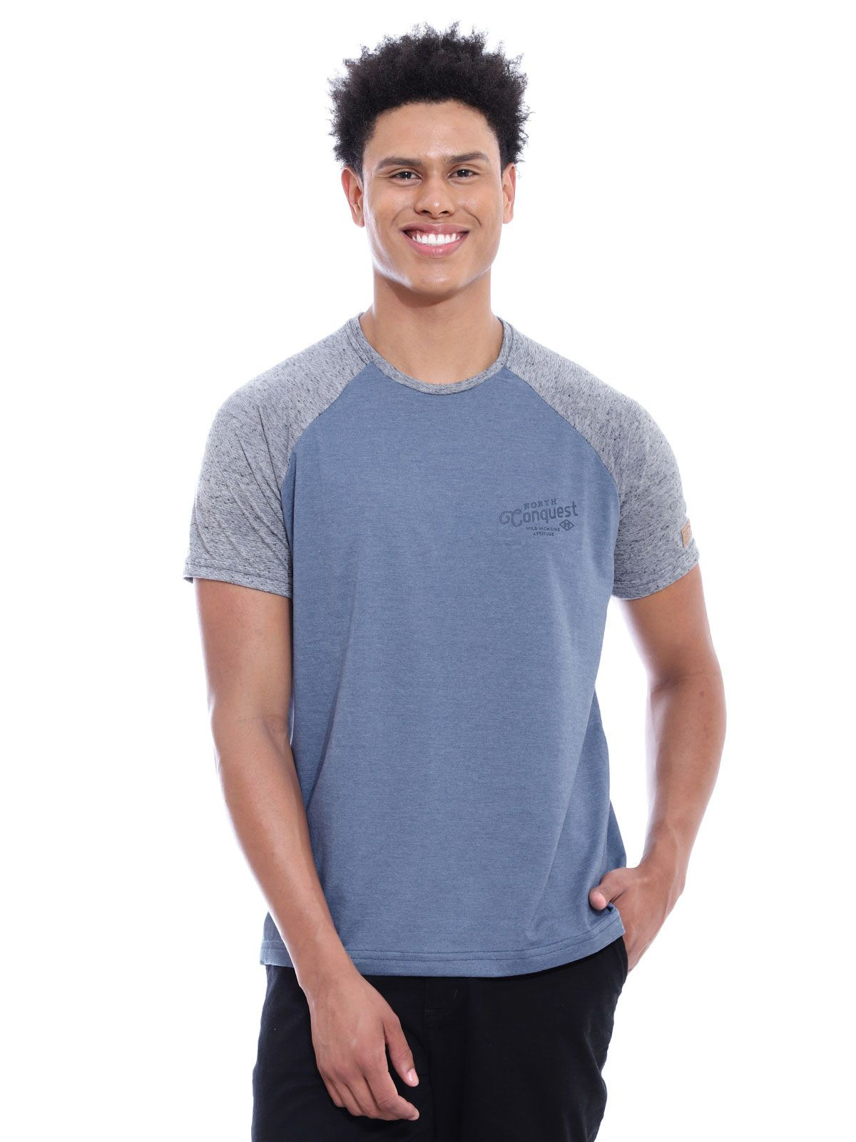 Camiseta Masculina Raglã Botonê Anistia Jeans