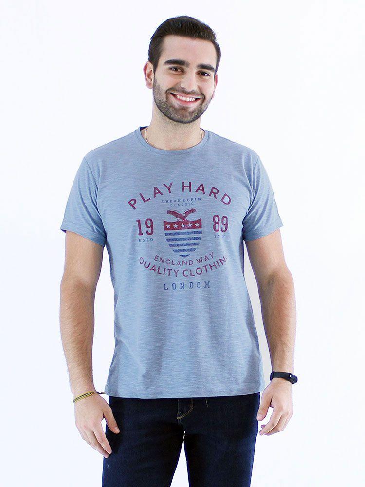 Camiseta Masculina Slim Fit Flame Anistia London Azul