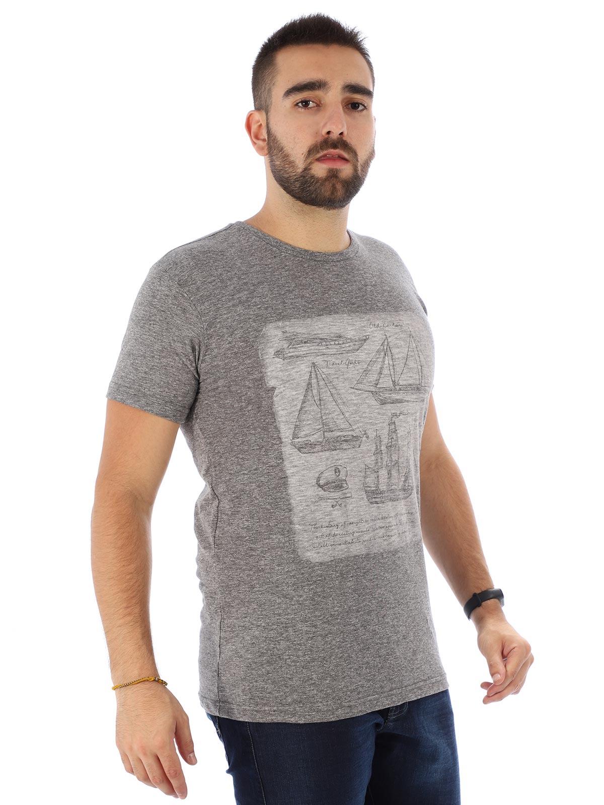 Camiseta Masculina Slim Fit Manga Curta Duo Cinza