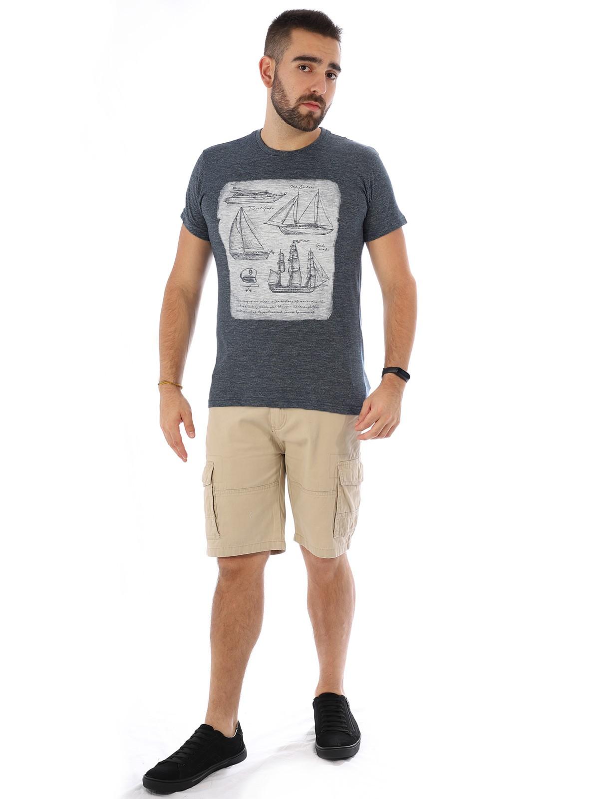 Camiseta Masculina Slim Fit Manga Curta Duo Marinho