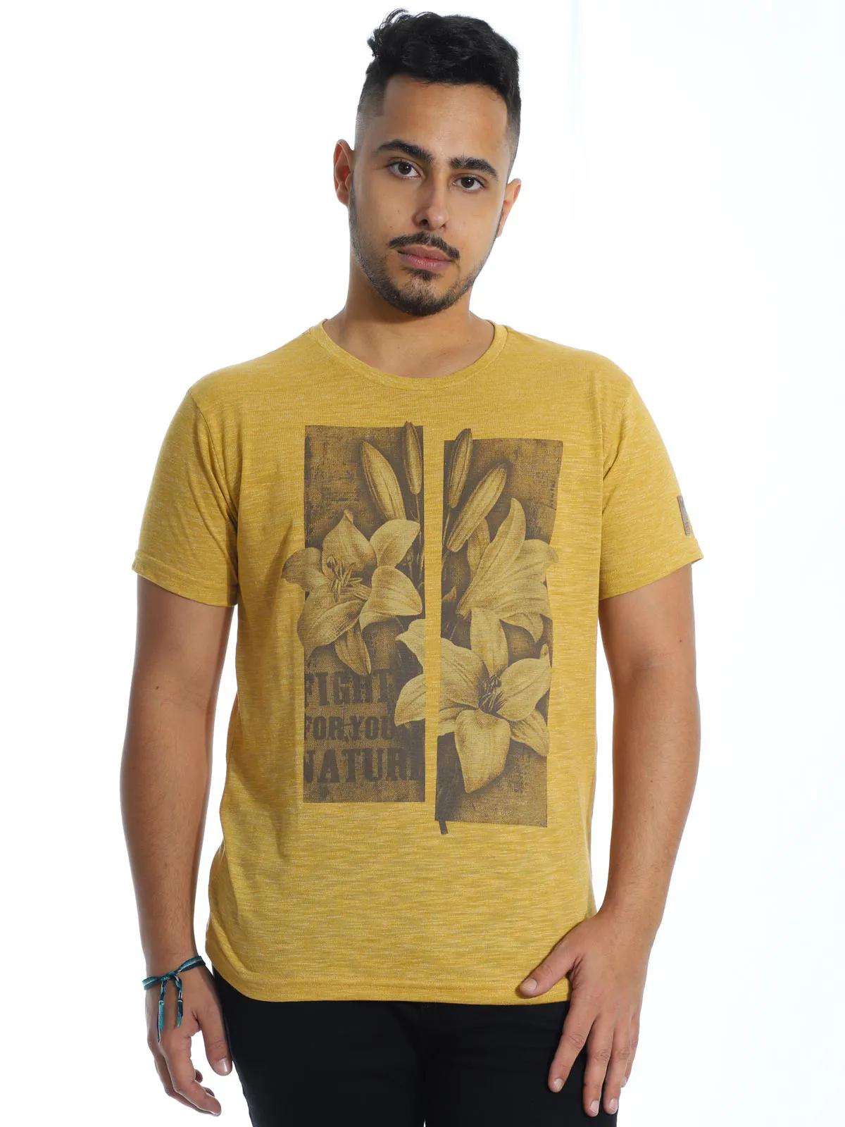 Camiseta Masculina Slim Fit Manga Curta Estampada Granite Amarelo