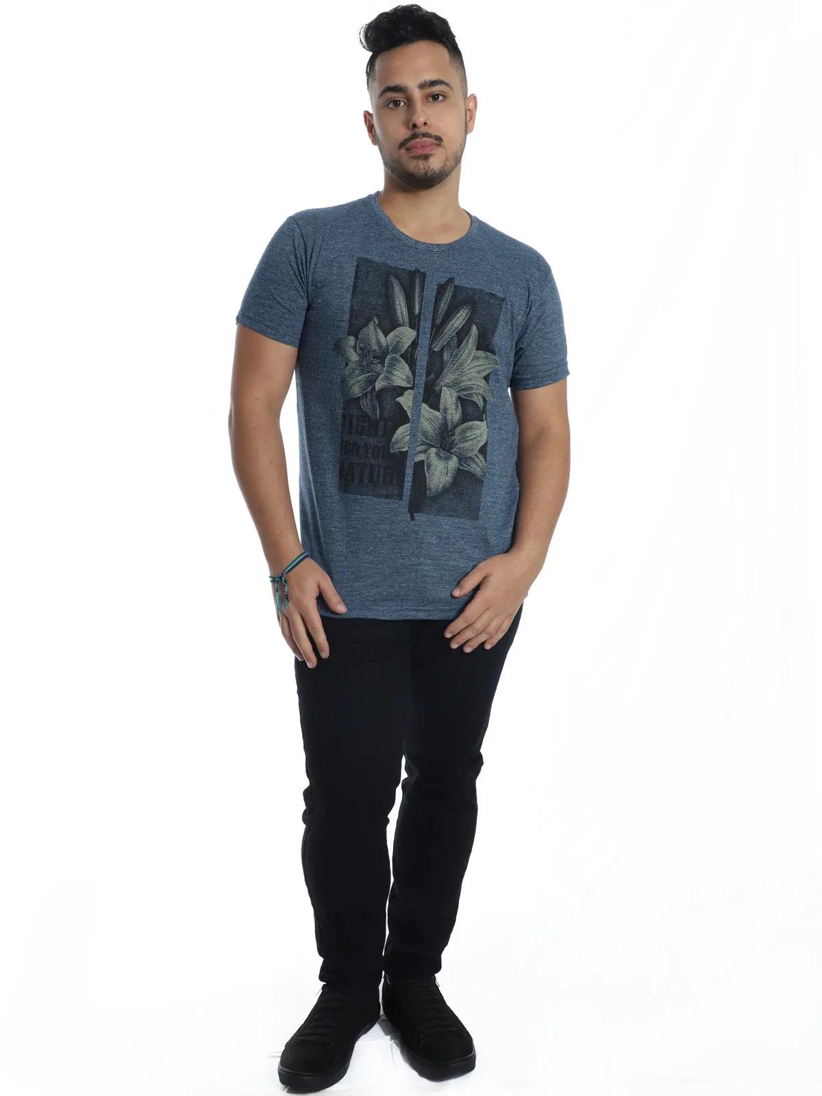 Camiseta Masculina Slim Fit Manga Curta Estampada Granite Azul
