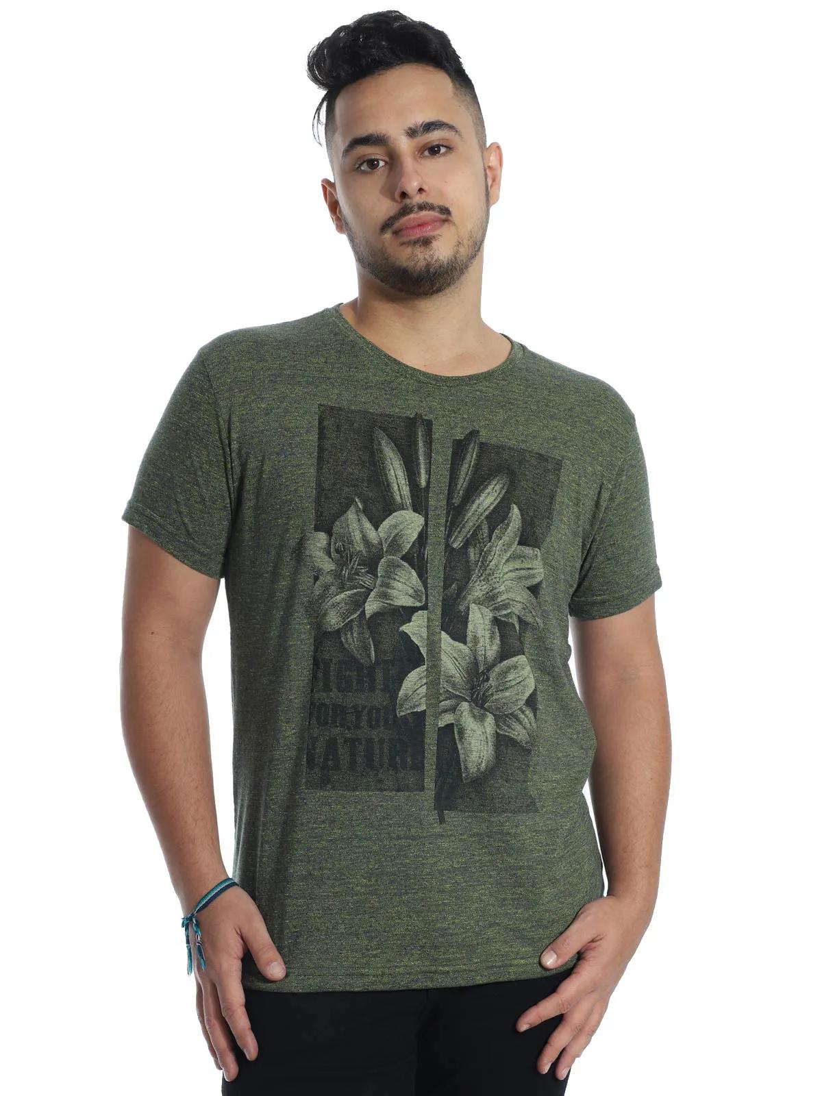 Camiseta Masculina Slim Fit Manga Curta Estampada Granite Verde