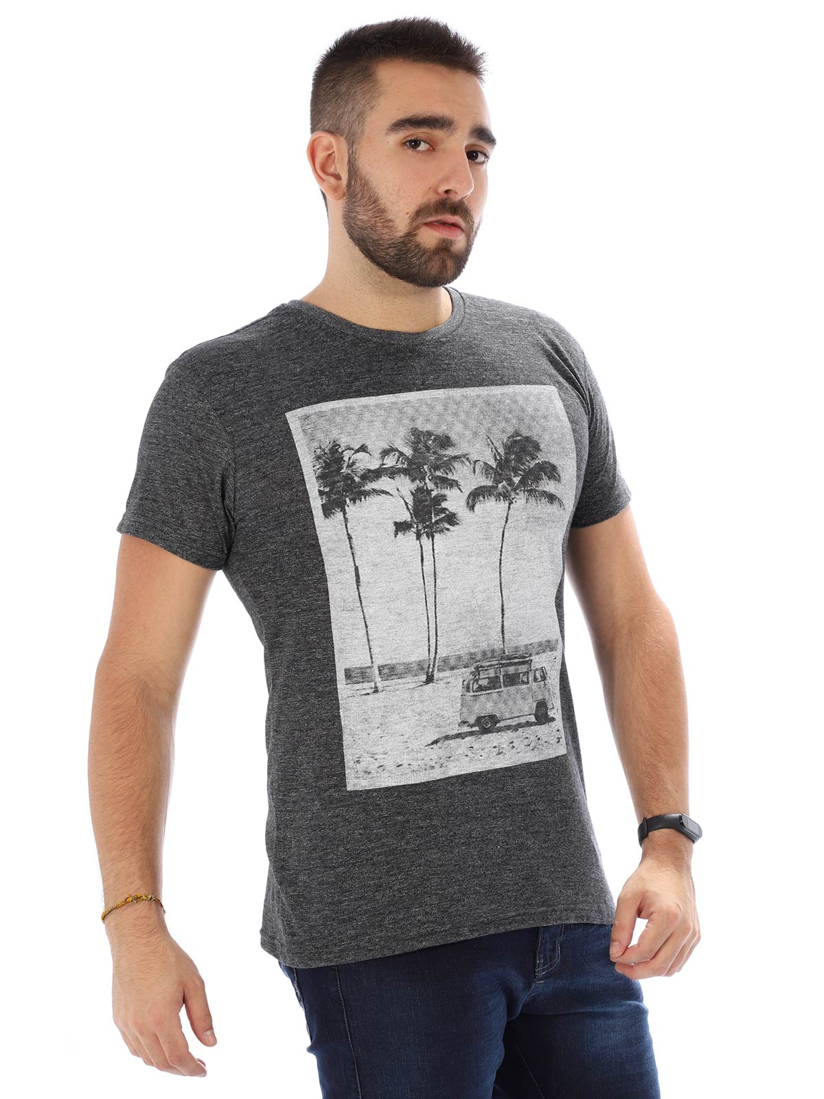 Camiseta Masculina Slim Fit Manga Curta Uno Preto