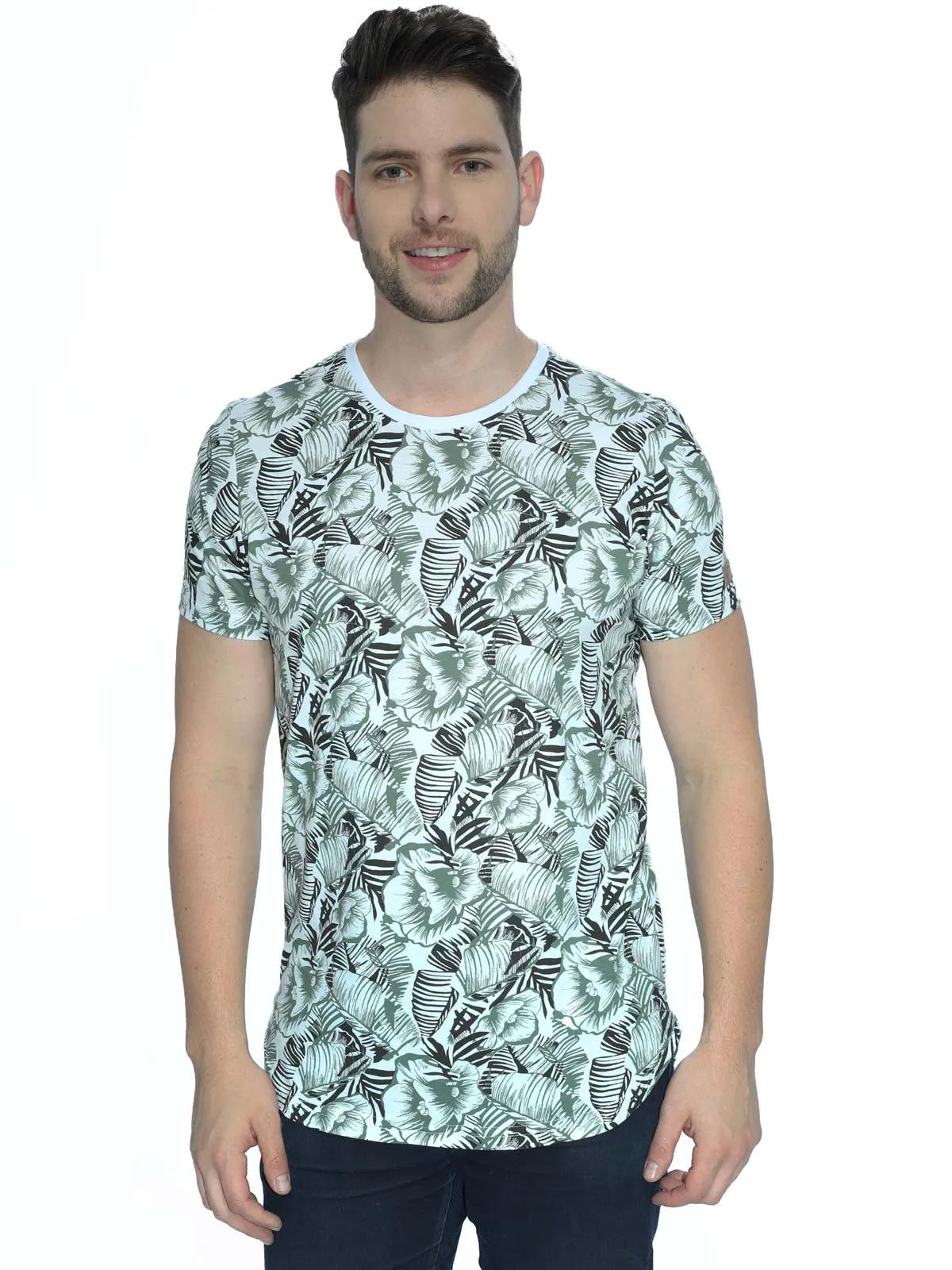 Camiseta Masculina Swag Longline Estampada Manga Curta Branca