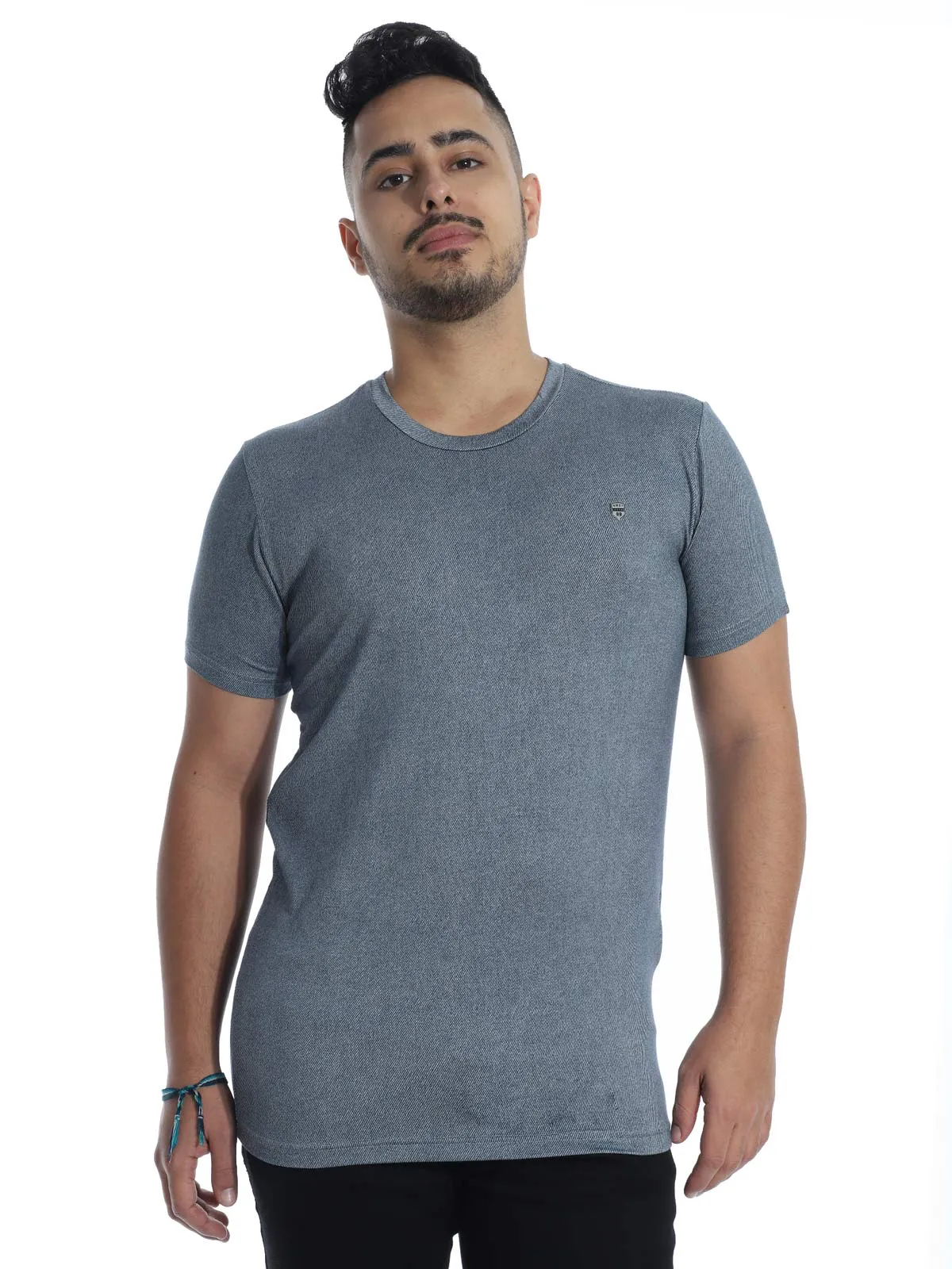 Camiseta Masculina Visco Slim Fit Manga Curta Jeans