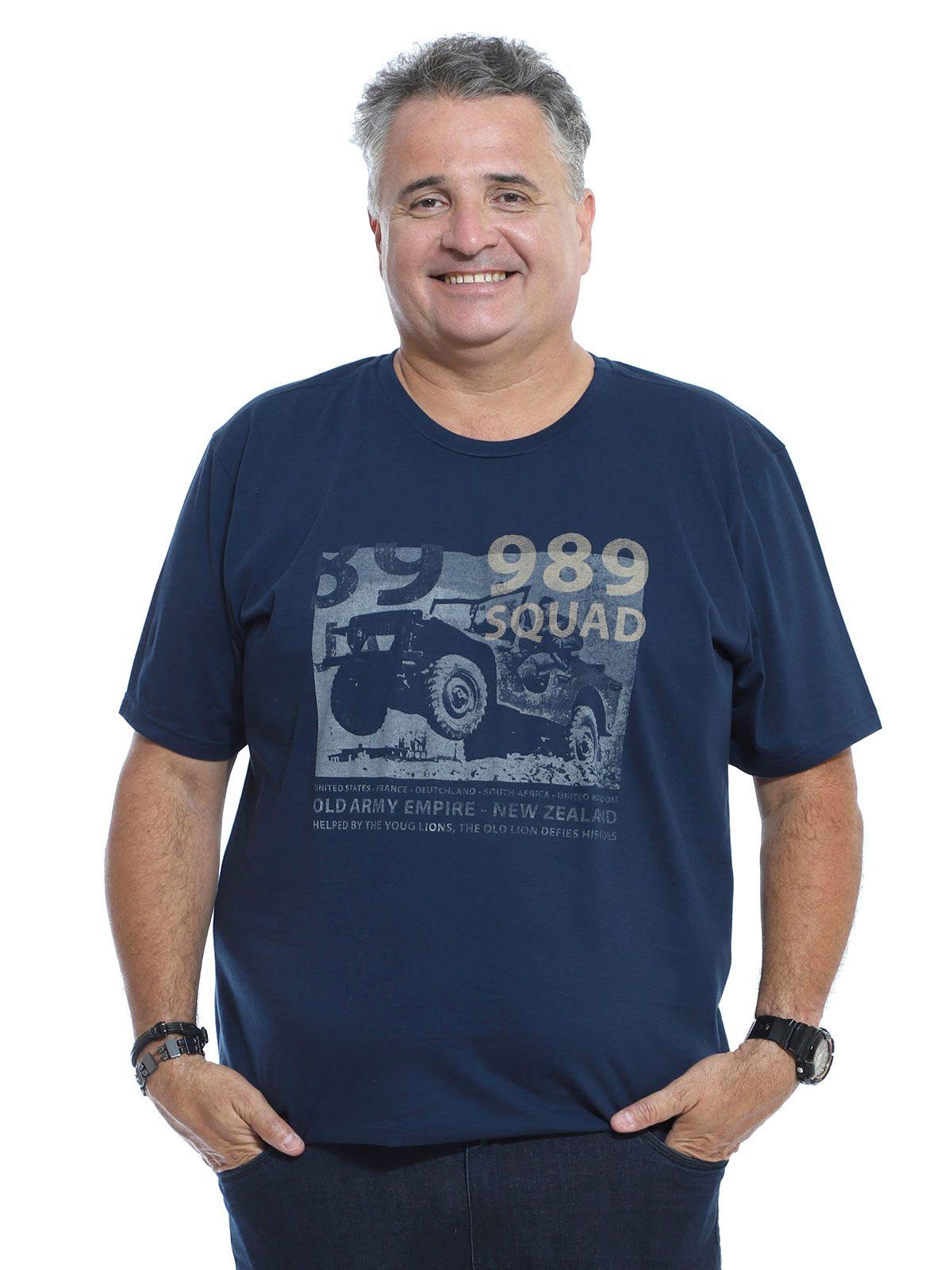 Camiseta Plus Size Masculina Manga Curta Estampa Army Marinho