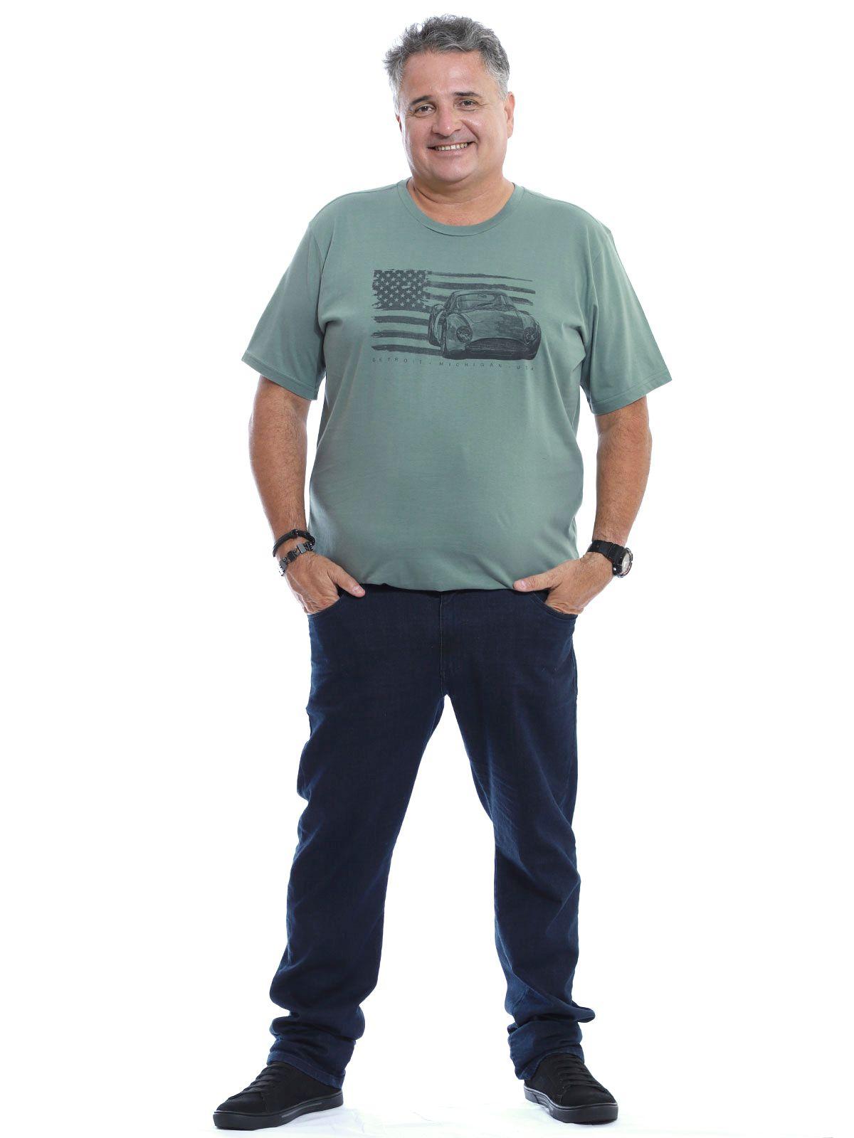 Camiseta Plus Size Masculina Gola Careca Estampa Concreto