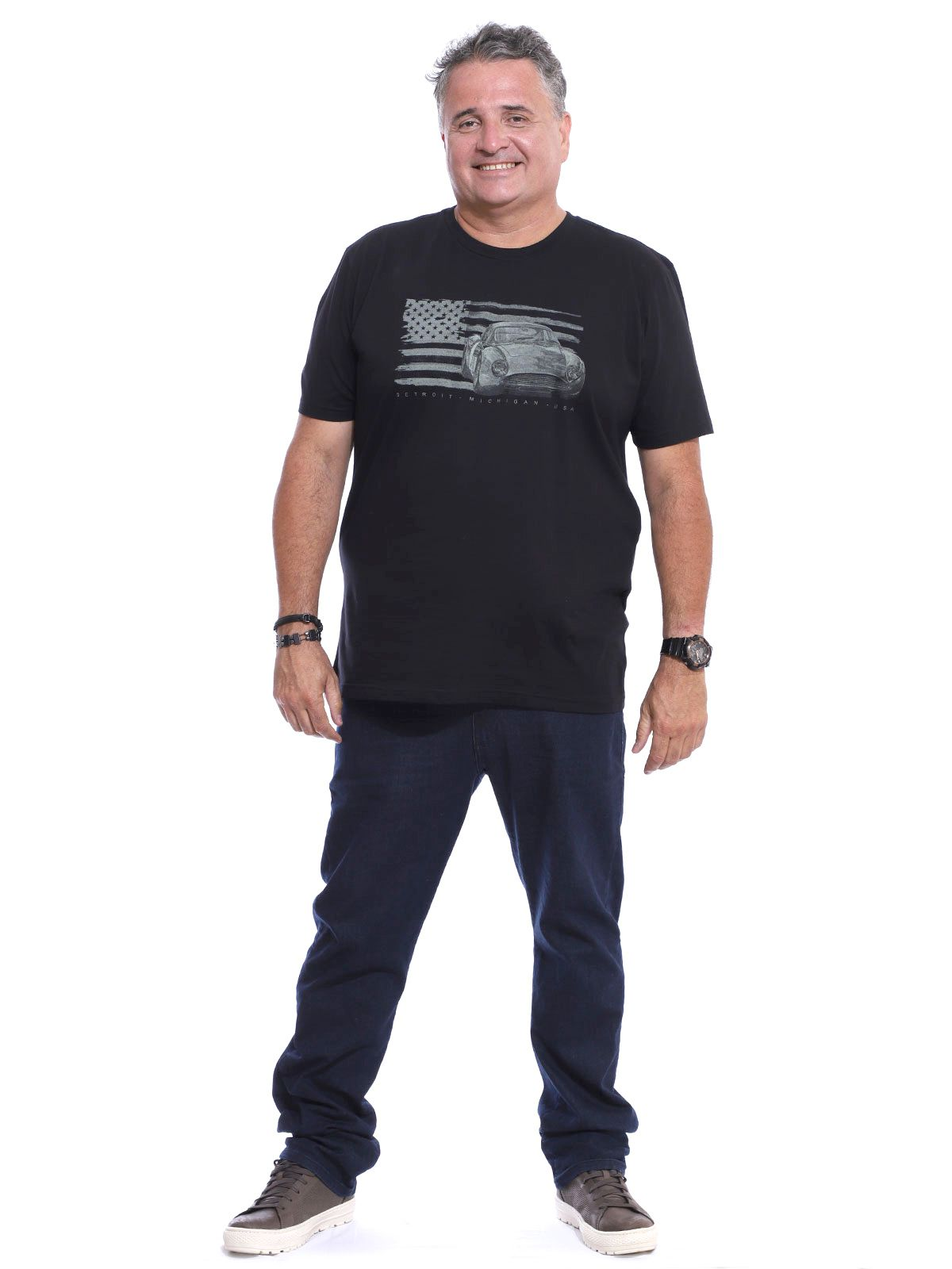 Camiseta Plus Size Masculina Gola Careca Estampa Preto