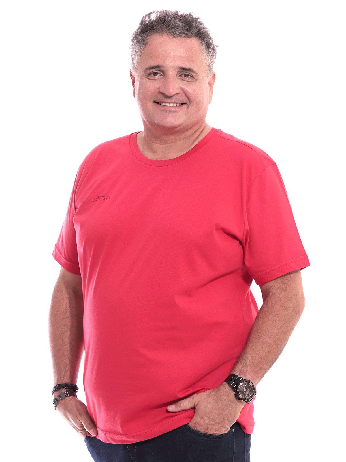 Camiseta Plus Size Masculina Gola Careca Manga Curta Vermelho
