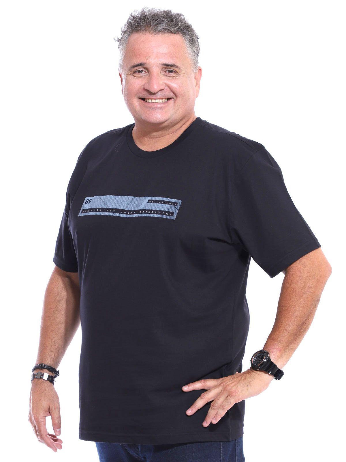 Camiseta Plus Size Masculina Manga Curta Estampa Front Preto