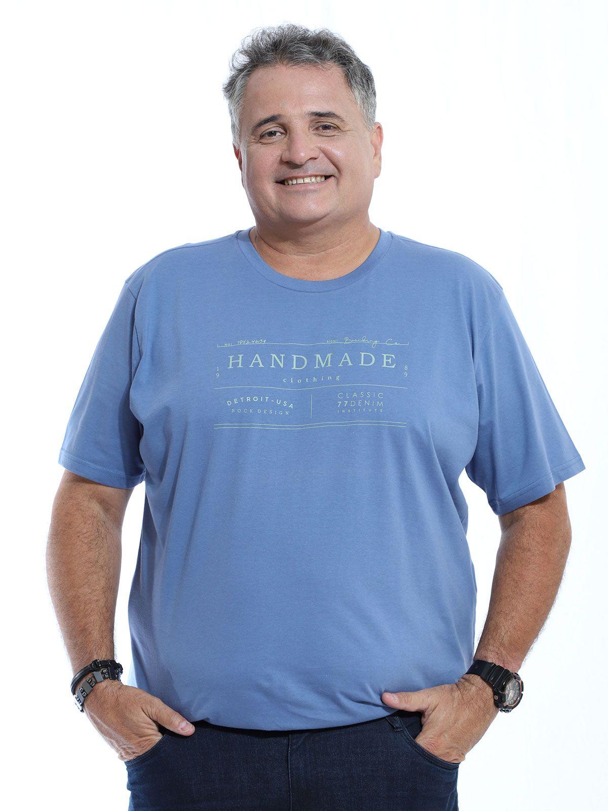 Camiseta Plus Size Masculina Manga Curta Estampada Indigo