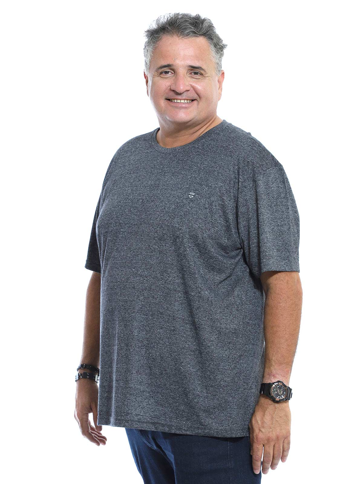 Camiseta Plus Size Masculina Mouline Preto