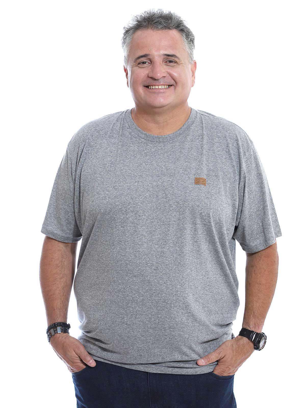 Camiseta Plus Size Anistia Mouline Ultra Fine Mescla Claro