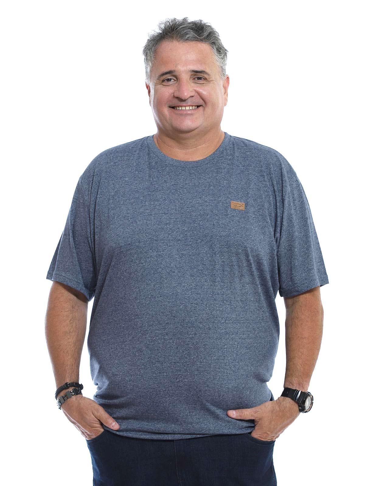 Camiseta Plus Size Anistia Mouline Ultra Fine Mescla Marinho