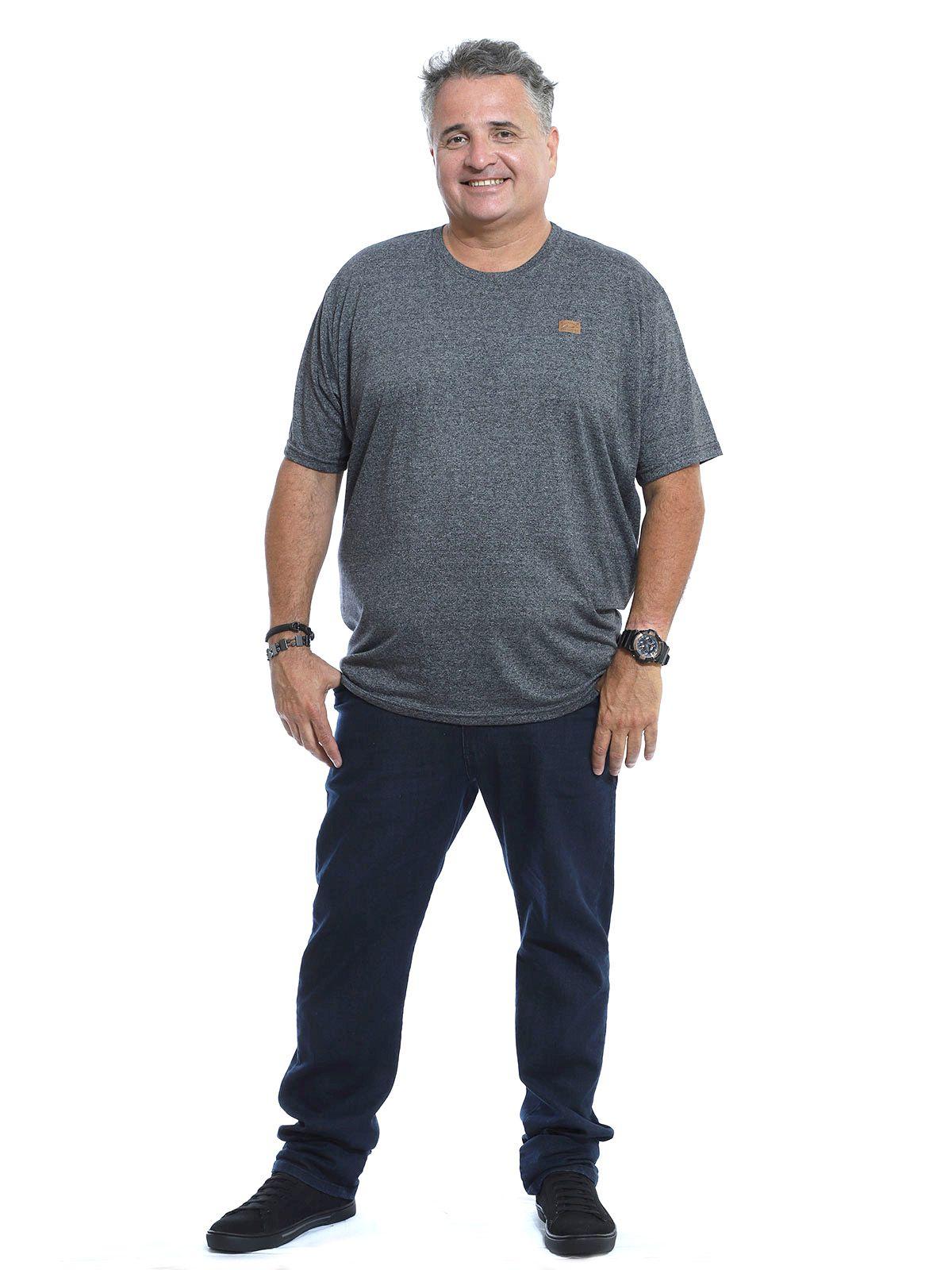 Camiseta Plus Size Anistia Mouline Ultra Fine Mescla Preto